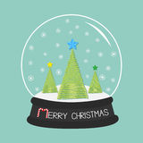 Fir tree set with star. Crystal ball and snowflakes. Merry Christmas card Flat design Blue background. Stock Photo