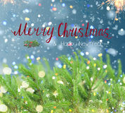 With fir tree and snow. Christmas background with fir tree, lights bokeh, falling snow and merry, christmas, greetings Royalty Free Stock Images