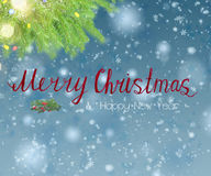 With fir tree and snow. Christmas background with fir tree, lights bokeh, snow and merry christmas greetings Stock Photos