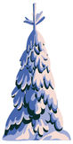 Fir-tree in snow. Fir-tree in snow on a white background. Illustration. Vector Stock Images