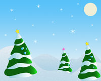 Fir tree and snowflake. Illustration with scene of the fir tree and snowflake Stock Image