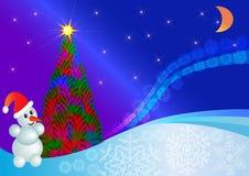 Fir tree and snowman. Illustration luminous fir tree and snowman in the night Royalty Free Stock Photos