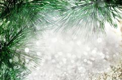 Fir-tree spruce branch with bokeh unfocused sparkles decor lights Stock Photo