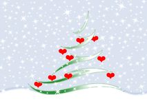 Fir tree. Symbolic image of the fir tree and snowflakes Stock Image