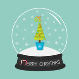 Fir tree, toys, bow. Crystal ball and snowflakes. Merry Christmas card Flat design Blue background. Stock Images