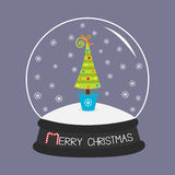 Fir tree, toys, bow. Crystal ball and snowflakes.. Merry Christmas card Flat design Violet background. Vector illustration Stock Image