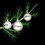Fir-tree toys with notes on a fir-tree branch Stock Images