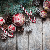 Fir Tree Toys, Red Balls, Coniferous, Pine Cones as Decor Stock Image