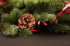 Fir-tree twigs with cones and a red ribbon Royalty Free Stock Images