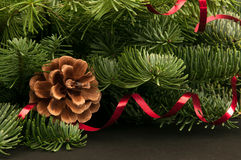 Fir-tree twigs with cones and a red ribbon Royalty Free Stock Photos
