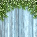 Fir Tree on Wooden Background. Snowy branches of fir tree on wooden background. Christmas vector spruce border Royalty Free Stock Photos