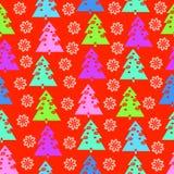 Fir-trees και snowflakes Στοκ Εικόνα