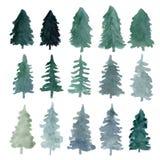 Fir-trees σκιαγραφίες που απομονώνονται ελεύθερη απεικόνιση δικαιώματος