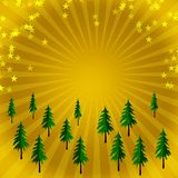 Fir trees. On golden background Stock Photography