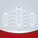 Fir-Trees. Christmas Greeting Card. Three white paper Christmas tree with a star on top and red ram for text Stock Photography
