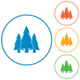 Fir Trees flat icons set Royalty Free Stock Image