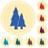 Fir Trees forest. Flat icon Royalty Free Stock Image