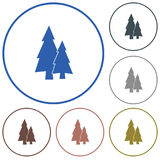 Fir Trees forest. Flat icon Stock Images