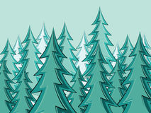 Fir Trees Forest Silhouettes. Stylized silhouettes of fir trees forest illustration Stock Photos