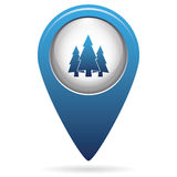 Fir Trees icon on the map pointer. Fir Trees flat icon on the map pointer Royalty Free Stock Image