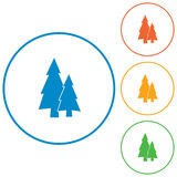 Fir Trees icons set Royalty Free Stock Photography