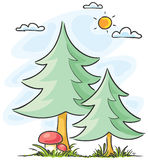 Fir-trees and mushrooms Royalty Free Stock Photography