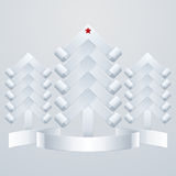 Fir-Trees Object. Three white paper Christmas tree with a red star and ribbon Stock Photo