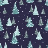 Fir trees pattern. Vector seamless forest winter. Background Stock Photo