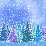 Fir Trees, Seamless Landscape Stock Photo