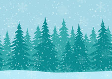 Fir Trees, Seamless Landscape. Christmas Horizontal Seamless Background, Landscape with Fir Trees, Winter Holiday Illustration Stock Image
