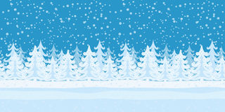 Fir Trees, Seamless Landscape. Christmas Horizontal Seamless Background, Landscape with Fir Trees, Winter Holiday Illustration. Eps10, Contains Transparencies Stock Photography
