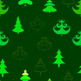 Fir trees seamless pattern. Abstract seamless christmas and new year background with spruce trees Stock Photos