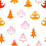 Fir trees seamless pattern. Abstract seamless christmas and new year background with spruce trees Royalty Free Stock Photography
