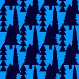Fir trees seamless pattern. Abstract seamless christmas and new year background with spruce trees Royalty Free Stock Images