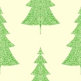 Fir trees seamless pattern. Abstract seamless christmas and new year background with spruce trees Stock Photo