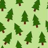 Fir trees seamless pattern. On green background Stock Photo