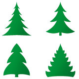 Fir trees set Stock Photography