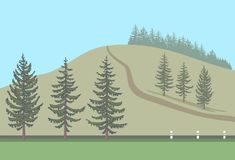 Fir trees set and their silhouettes. Fir trees set and their silhouettes arranged in the landscape. Spruce on the background of the road and the hill. Vector Stock Photo