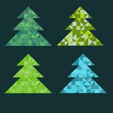 Fir trees set. With triangles Royalty Free Stock Photos