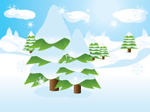 Fir trees on slope. Two fir trees over snow landscape, cartoon background Stock Photos