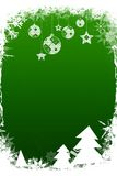 Fir trees with snow flakes. Flakes on green Royalty Free Stock Photos