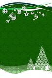 Fir trees with snow flakes. Flakes on green Royalty Free Stock Image
