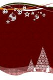 Fir trees with snow flakes. Flakes on red Royalty Free Stock Photo