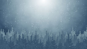 Fir trees and snowfall. Computer generated illustration Royalty Free Stock Photo