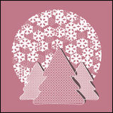 Fir-trees with snowflakes. Cutout background Royalty Free Stock Photo