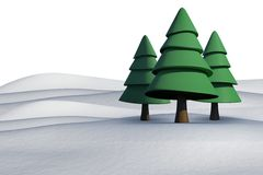 Fir trees on snowy landscape. On white background Stock Photography