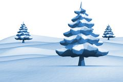 Fir trees on snowy landscape. On white background Royalty Free Stock Photos