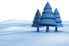 Fir trees on snowy landscape. On white background Stock Image