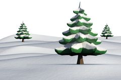 Fir trees on snowy landscape. On white background Royalty Free Stock Photo