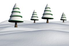 Fir trees on snowy landscape. On white background Royalty Free Stock Photography